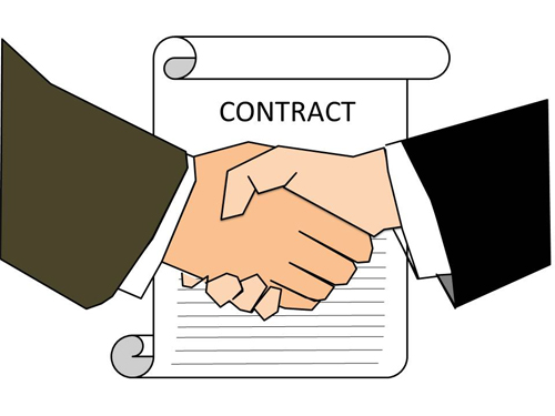 Contract shaking hands