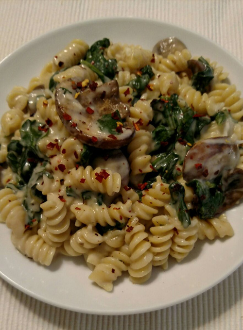 Spinach and Mushroom Alfredo