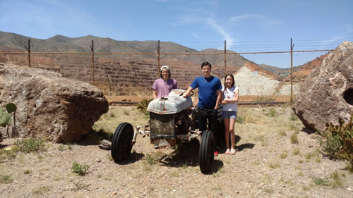 The kids and tractor in front of the Lavendar Pit resized